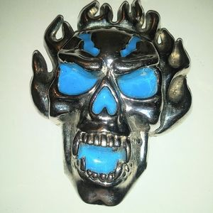 Skull Belt Buckle With Stash Box